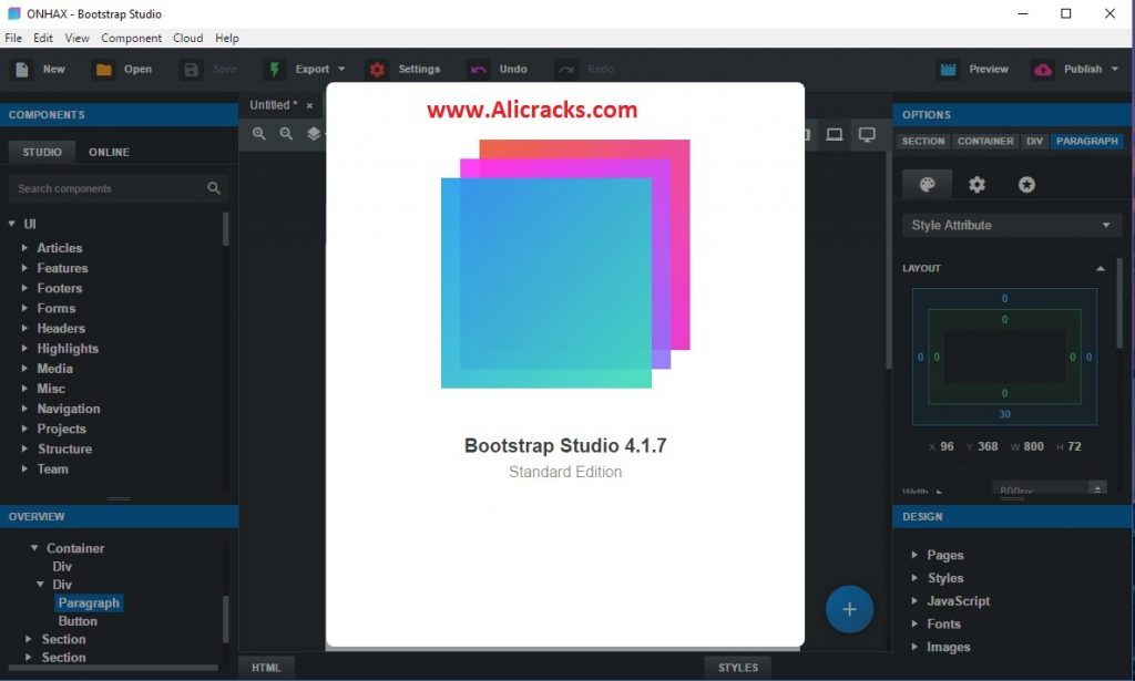 Bootstrap Studio 4.1.7 Crack & License Key Free Download